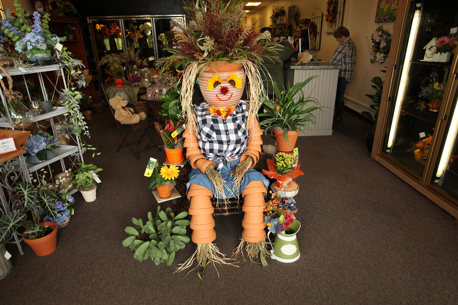terra cotta pot scarecrow